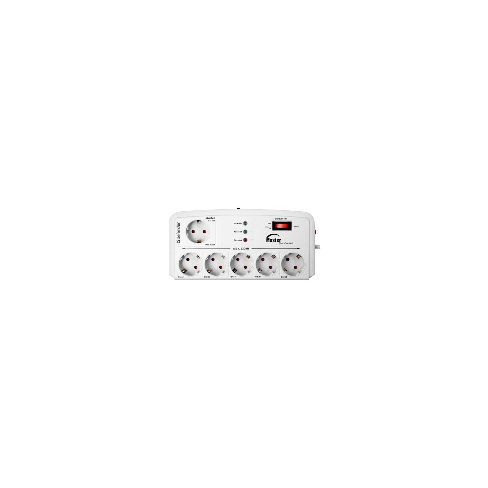Сетевой фильтр питания Defender DEFENDER DFS 805 5m 6 роз. Master Slave (99453)