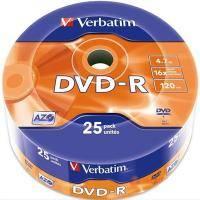 Диск DVD-R Verbatim 4.7Gb 16X Spindle Wrap box 25шт (43808)