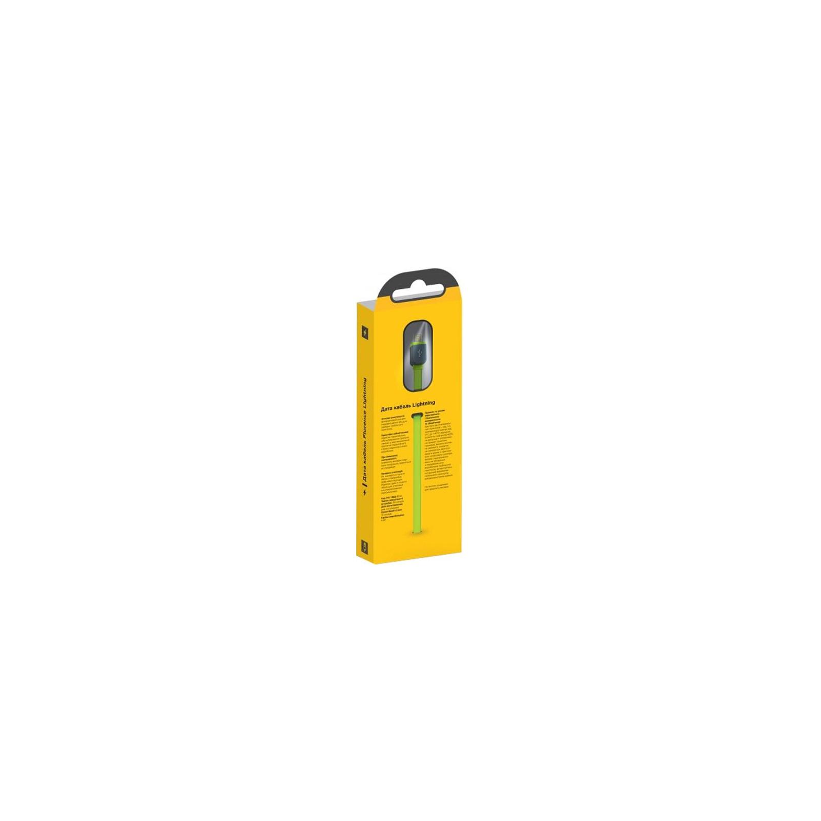 Дата кабель USB 2.0 AM to Lightning 1.0m Color Lime green Florence (FDC-L1-2L) изображение 2