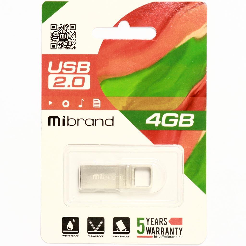 USB флеш накопитель Mibrand 4GB Shark Silver USB 2.0 (MI2.0/SH4U4S) изображение 2