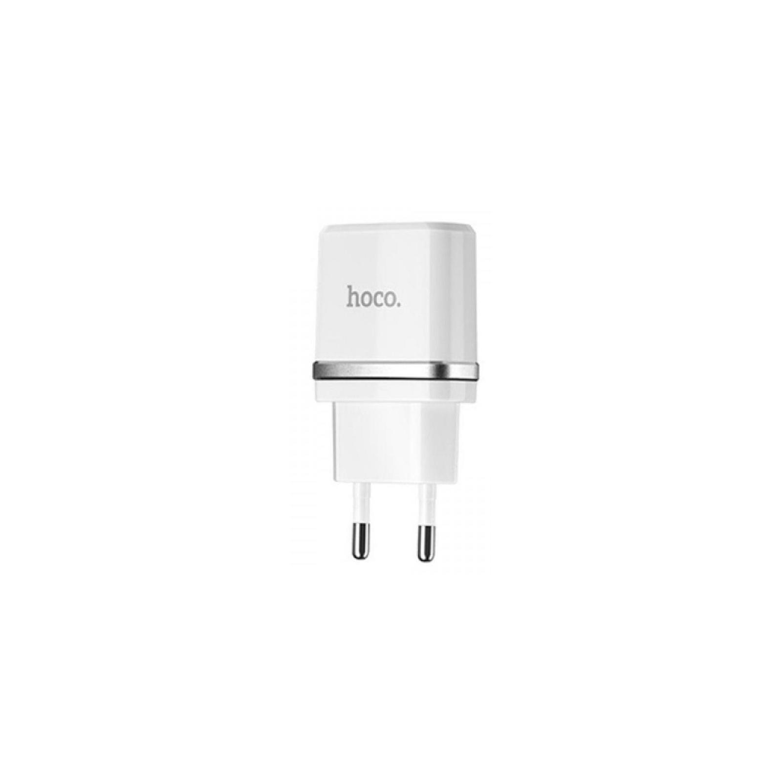 Зарядное устройство HOCO C12 2*USB, 2.4A, White (62704)