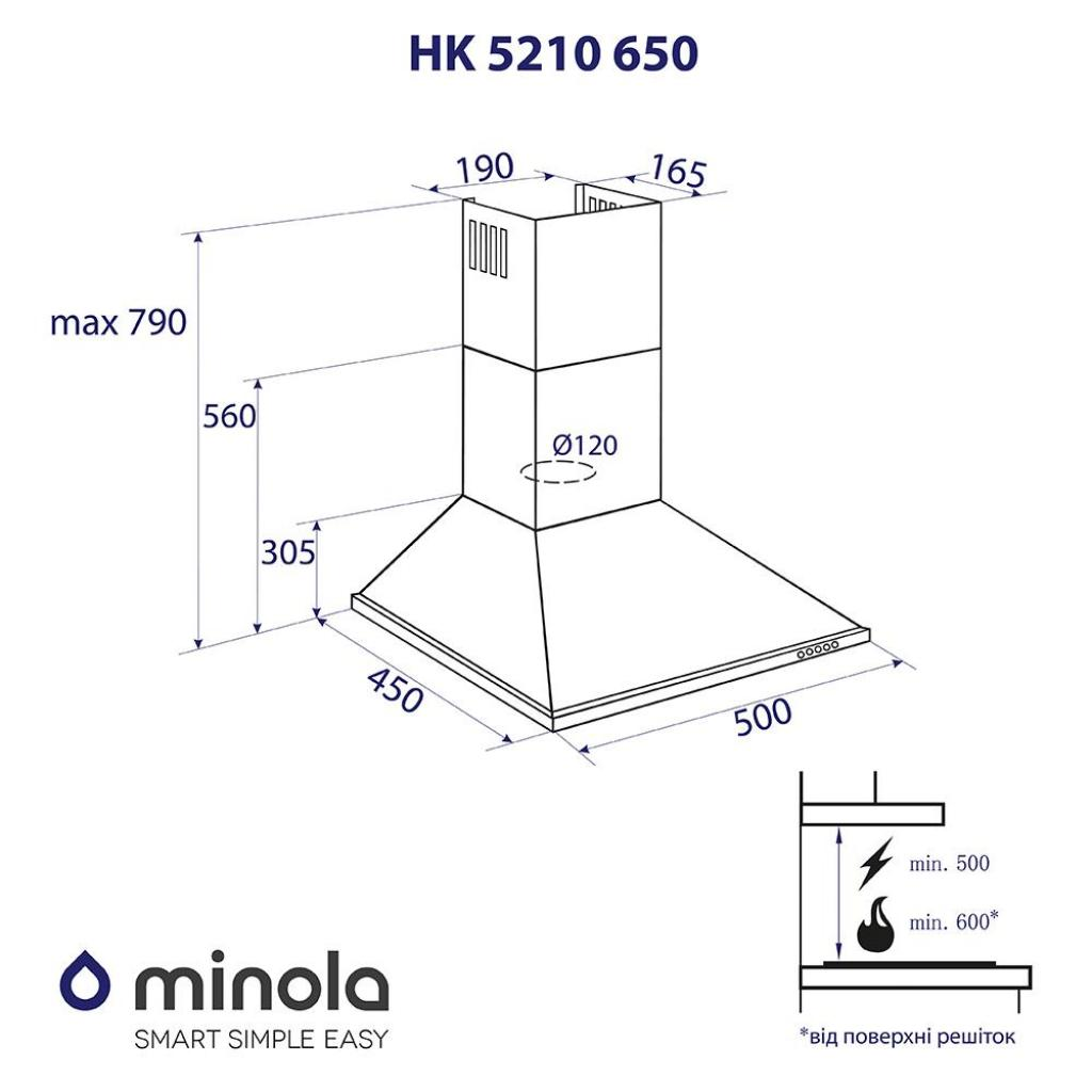 Вытяжка кухонная MINOLA HK 5210 BL 650 изображение 7