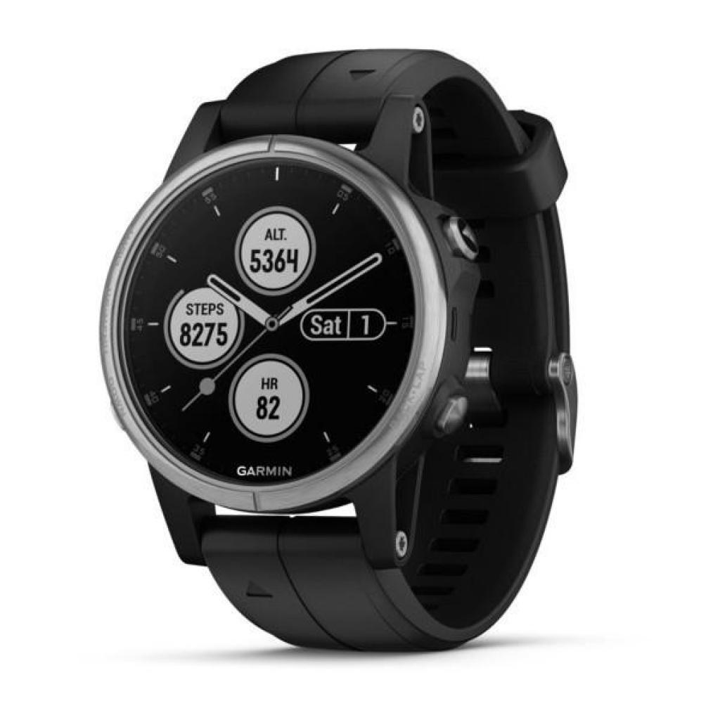 Смарт-часы Garmin Fenix 5 Plus Silver with Black Silicone (010-01988-60)