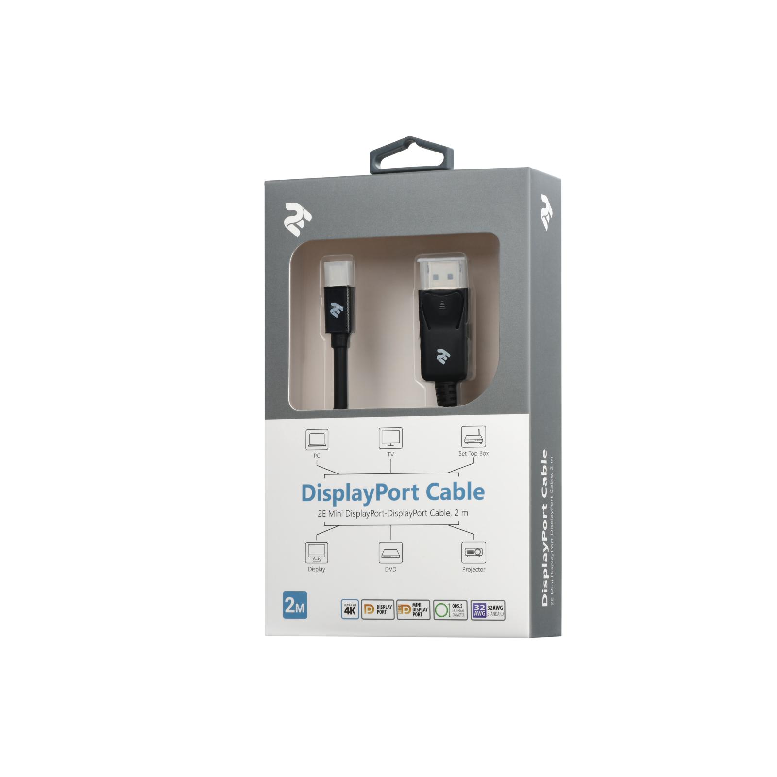 Кабель мультимедийный Mini DisplayPort to DisplayPort 2.0m 2E (2E-W1704) изображение 3