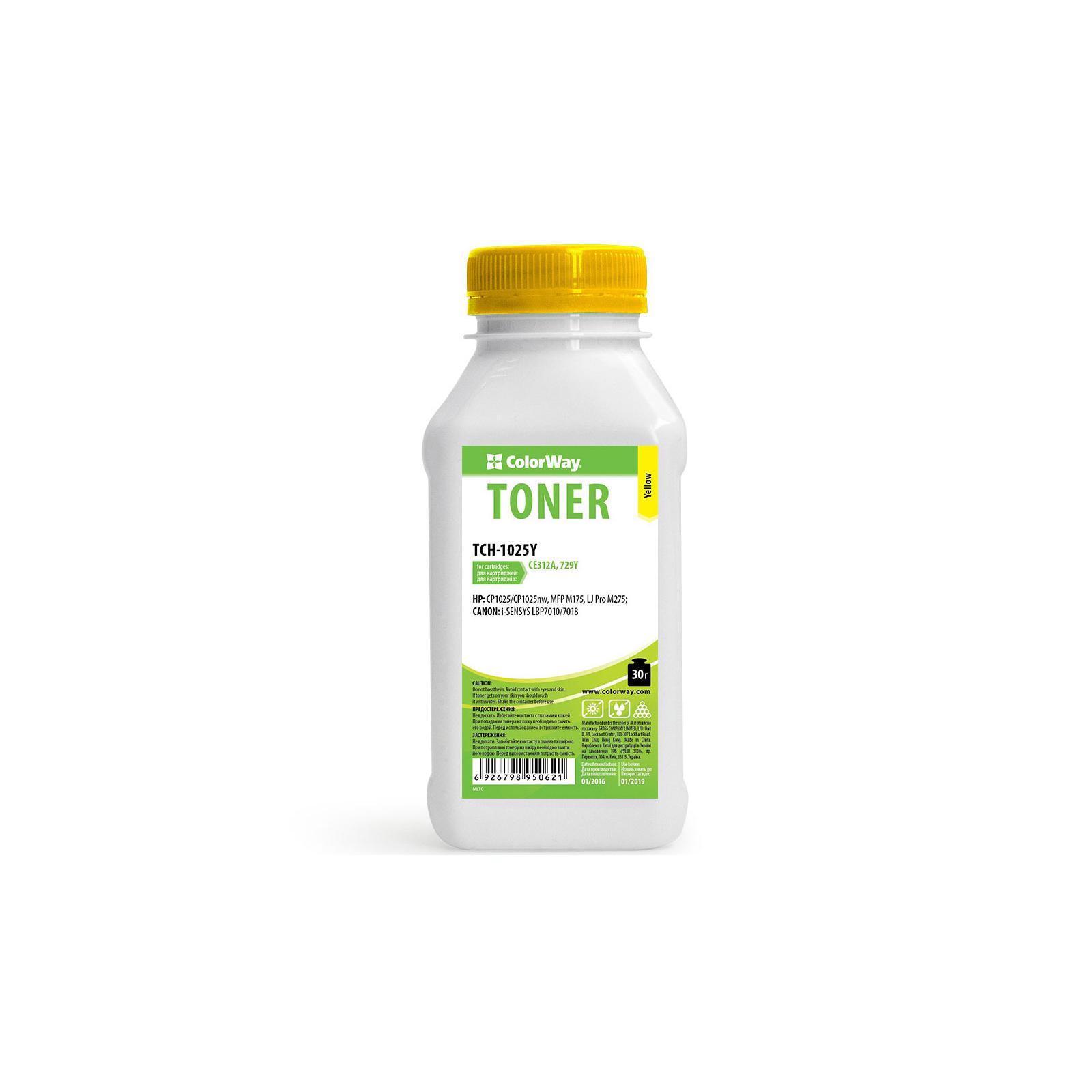 Тонер HP CLJ CP1025/Pro100/M175 Yellow 30g ColorWay (TCH-1025Y)