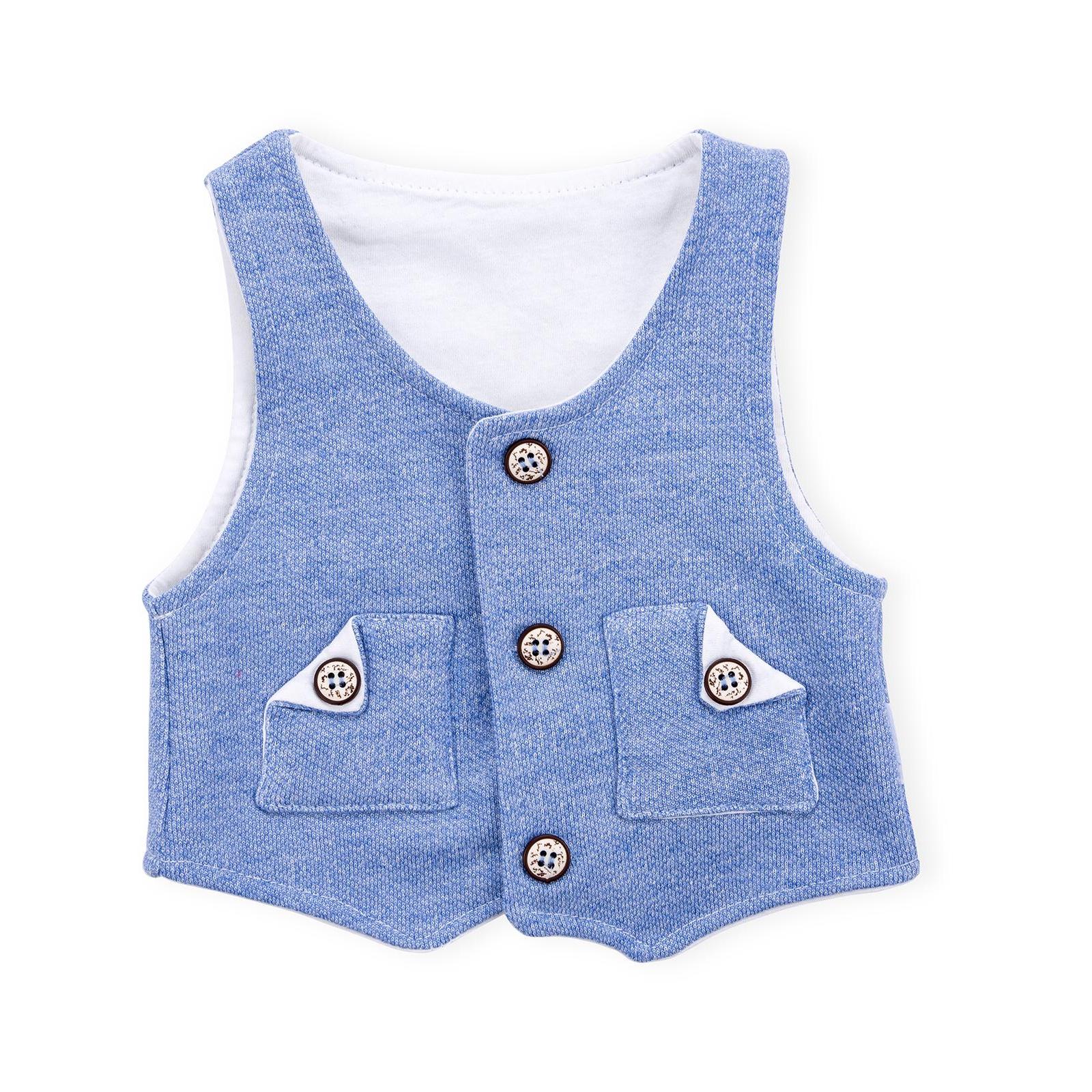Набор детской одежды Necix's тройка с жилетом (9082-12B-blue) изображение 7