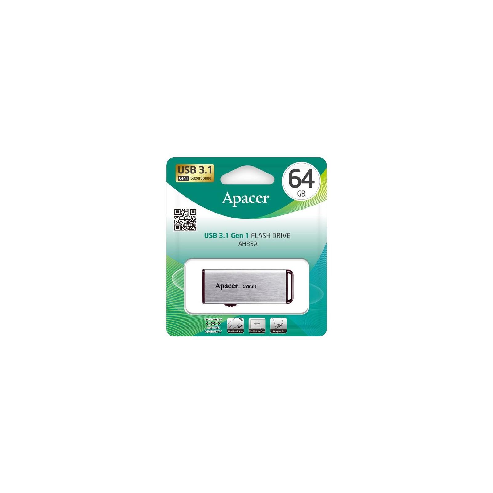 USB флеш накопитель Apacer 64GB AH35A Silver USB 3.1 Gen1 (AP64GAH35AS-1) изображение 5