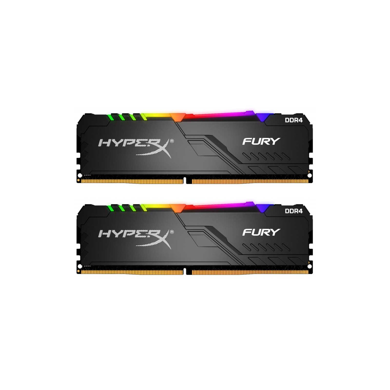 Модуль памяти для компьютера DDR4 16GB (2x8GB) 2400 MHz HyperX Fury RGB HyperX (Kingston Fury) (HX424C15FB3AK2/16)