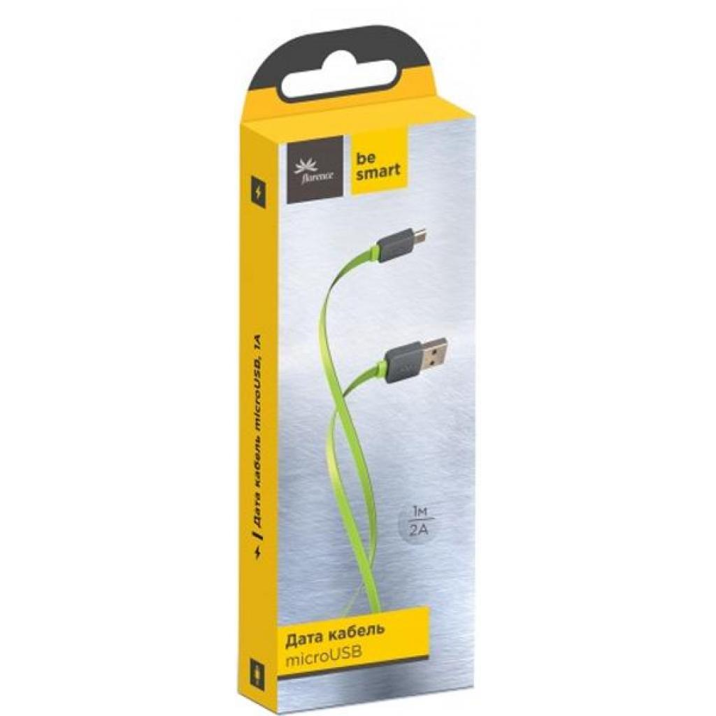 Дата кабель USB 2.0 AM to Micro 5P 1.0m Color Lime green Florence (FDC-M1-2L)