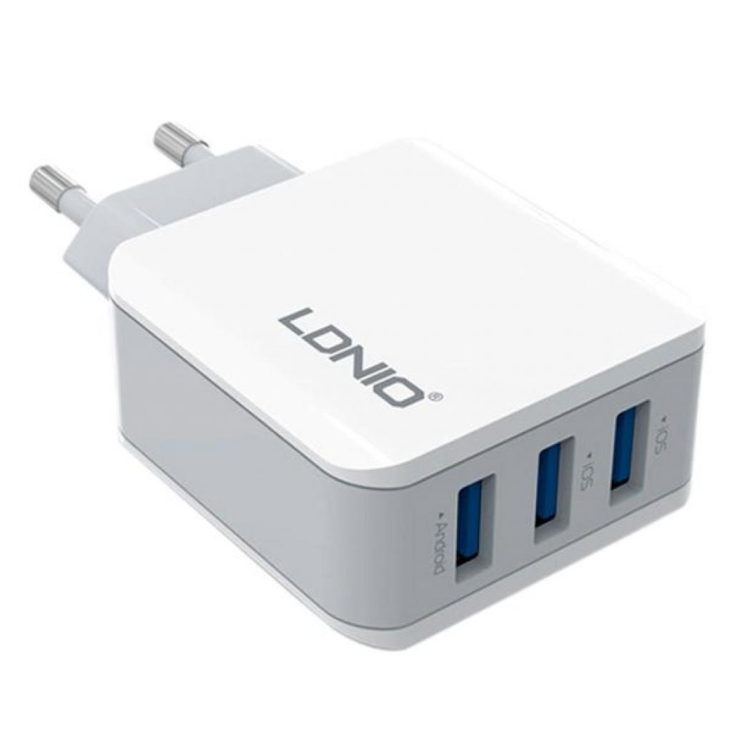 Зарядное устройство LDNIO DL-A3301 3*USB, 3.1A, White (55420)