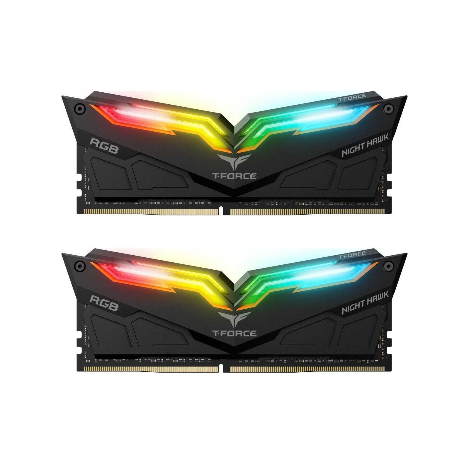 Модуль памяти для компьютера DDR4 32GB (2x16GB) 3200 MHz T-Force Night Hawk RGB Black Team (TF1D432G3200HC16CDC0)
