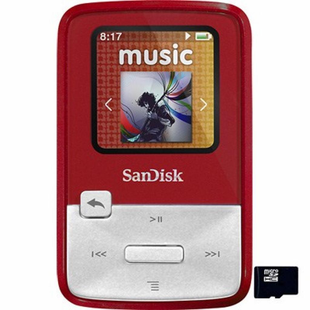 mp3 плеер SANDISK Sansa Clip Zip 4GB Red (SDMX22-004G-E46R)