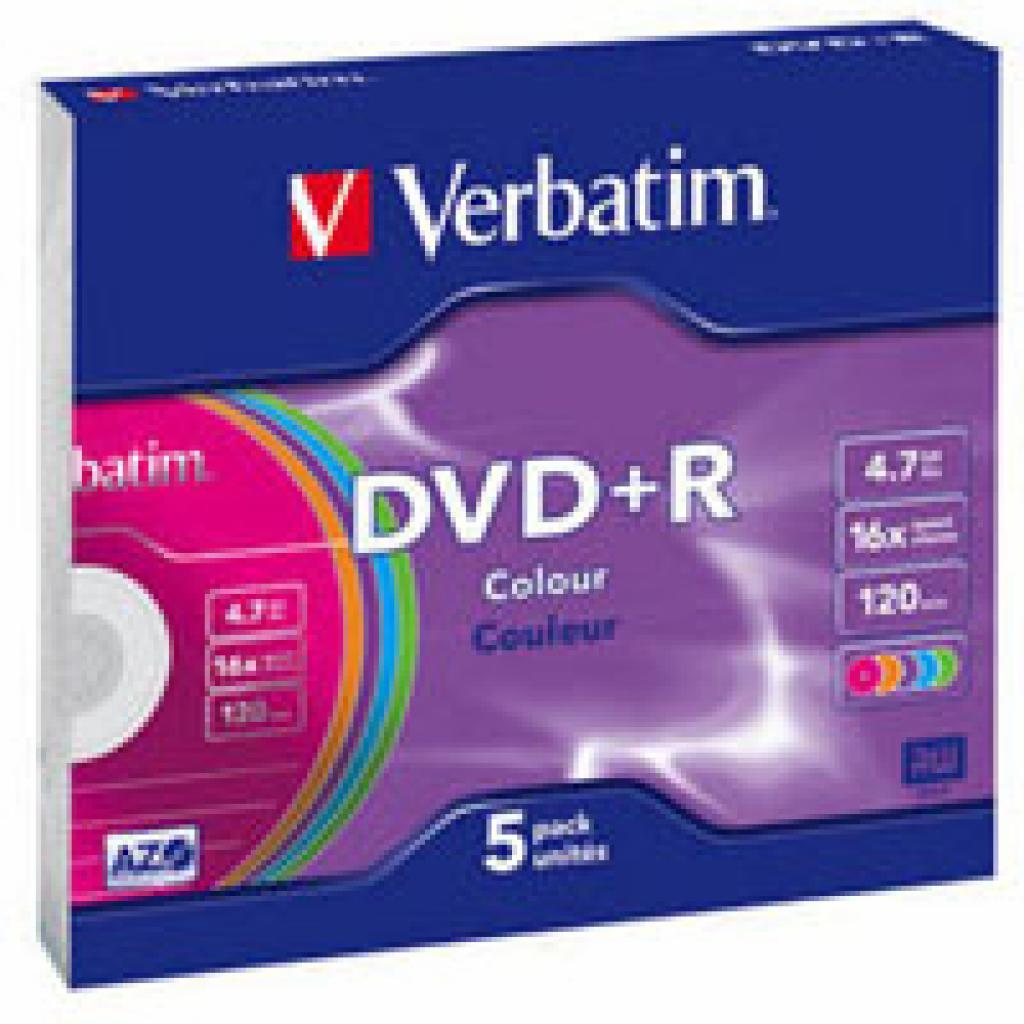Диск DVD Verbatim 4.7Gb 16X SlimBox 5 шт Color (43556)