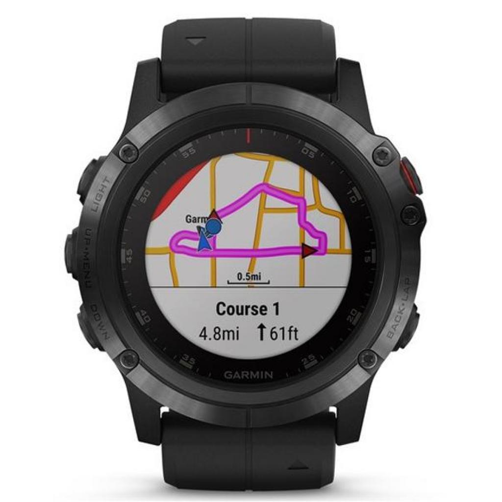 Смарт-часы Garmin Fenix 5x Plus Sapphire Black with Black Silicone (010-01989-64) изображение 2