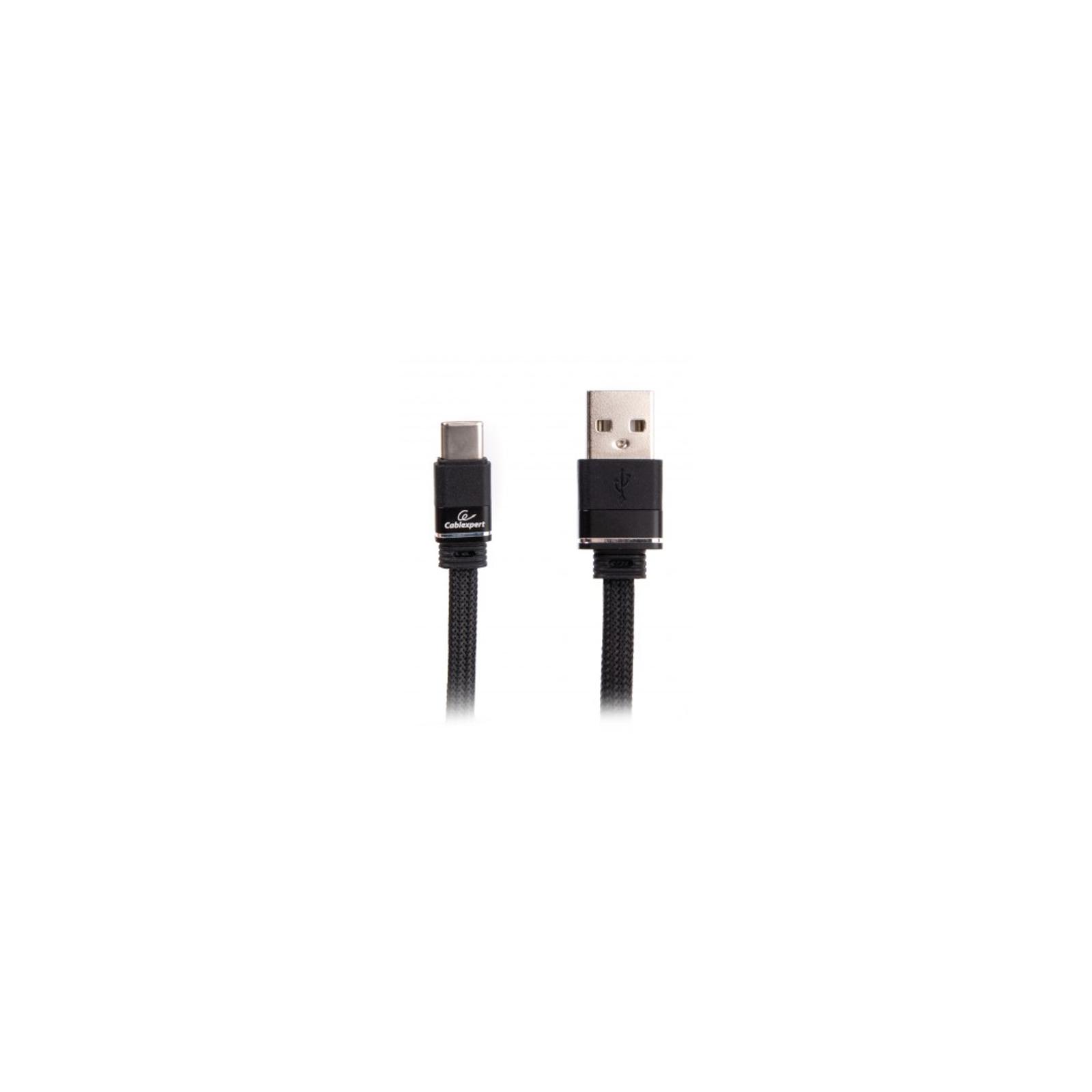 Дата кабель USB 2.0 AM to Type-C 1.0m flat Cablexpert (CCPB-C-USB-10BK)