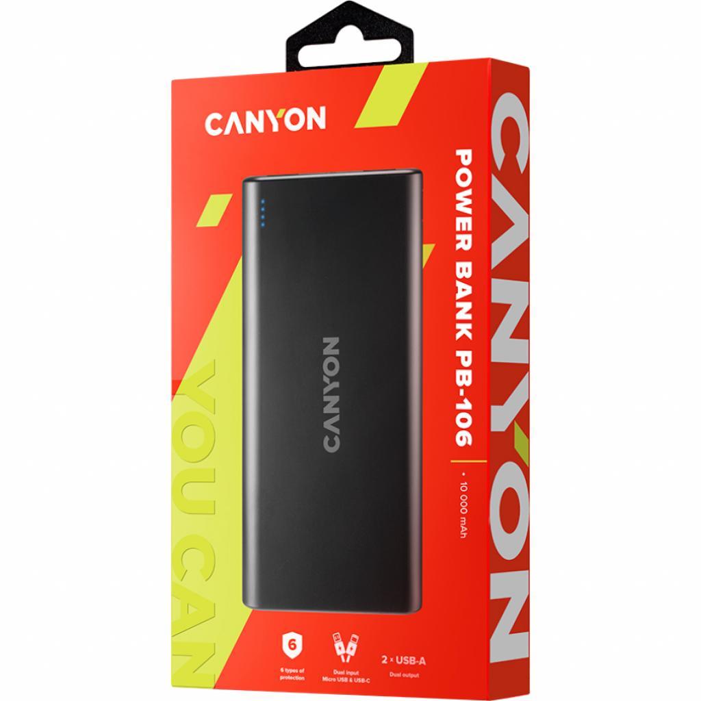 Батарея универсальная Canyon PB-106 10000mAh Input 5V/2A, Output 5V/2.1A(Max) (CNE-CPB1006B) изображение 5