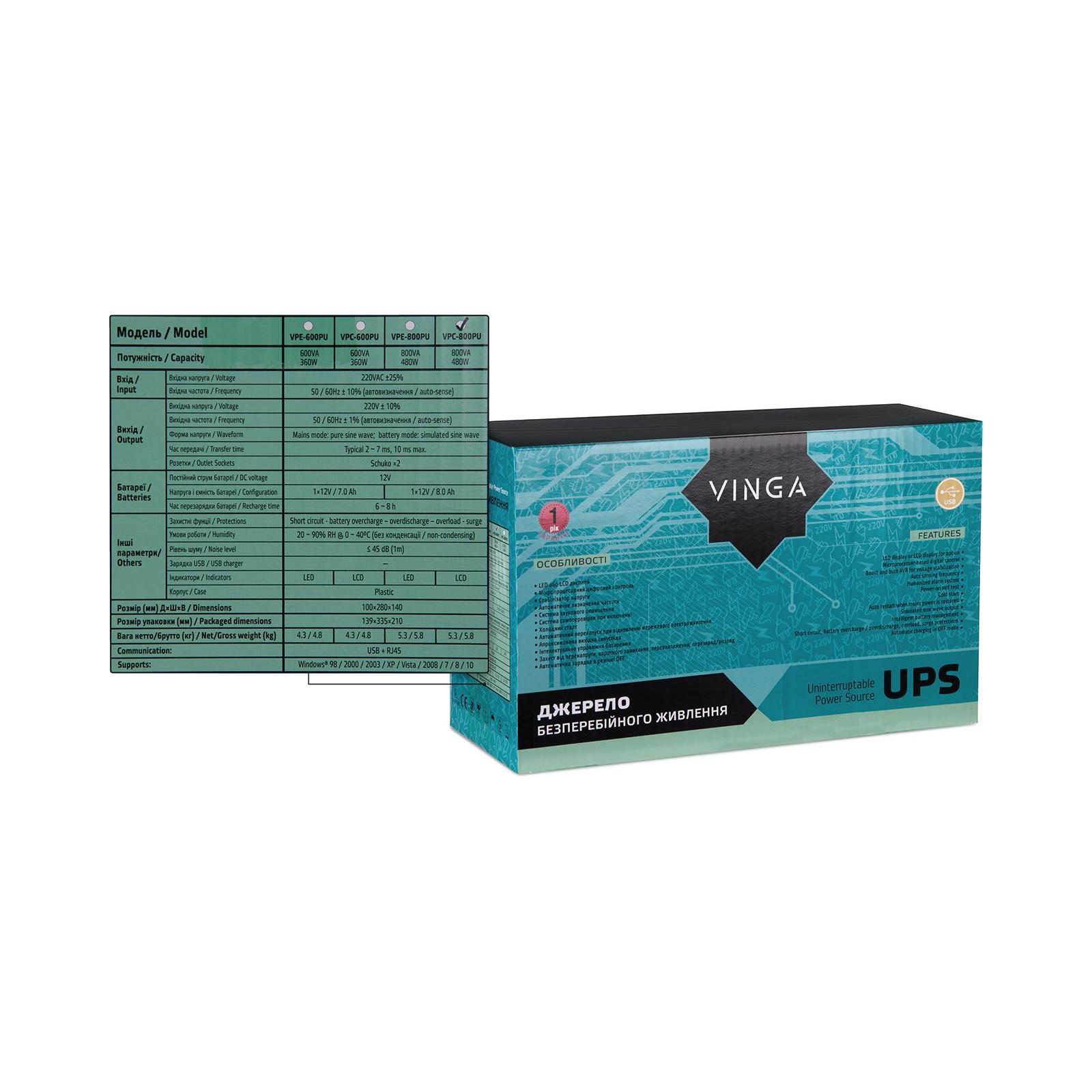 Источник бесперебойного питания Vinga LCD 800VA plastic case with USB (VPC-800PU) изображение 12