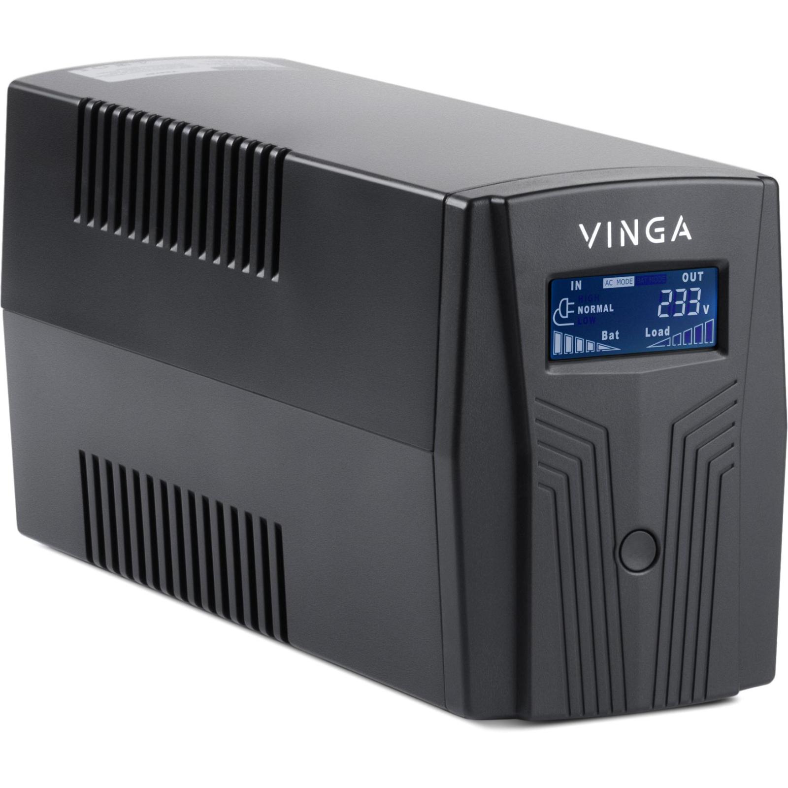 Источник бесперебойного питания Vinga LCD 800VA plastic case with USB (VPC-800PU) изображение 2