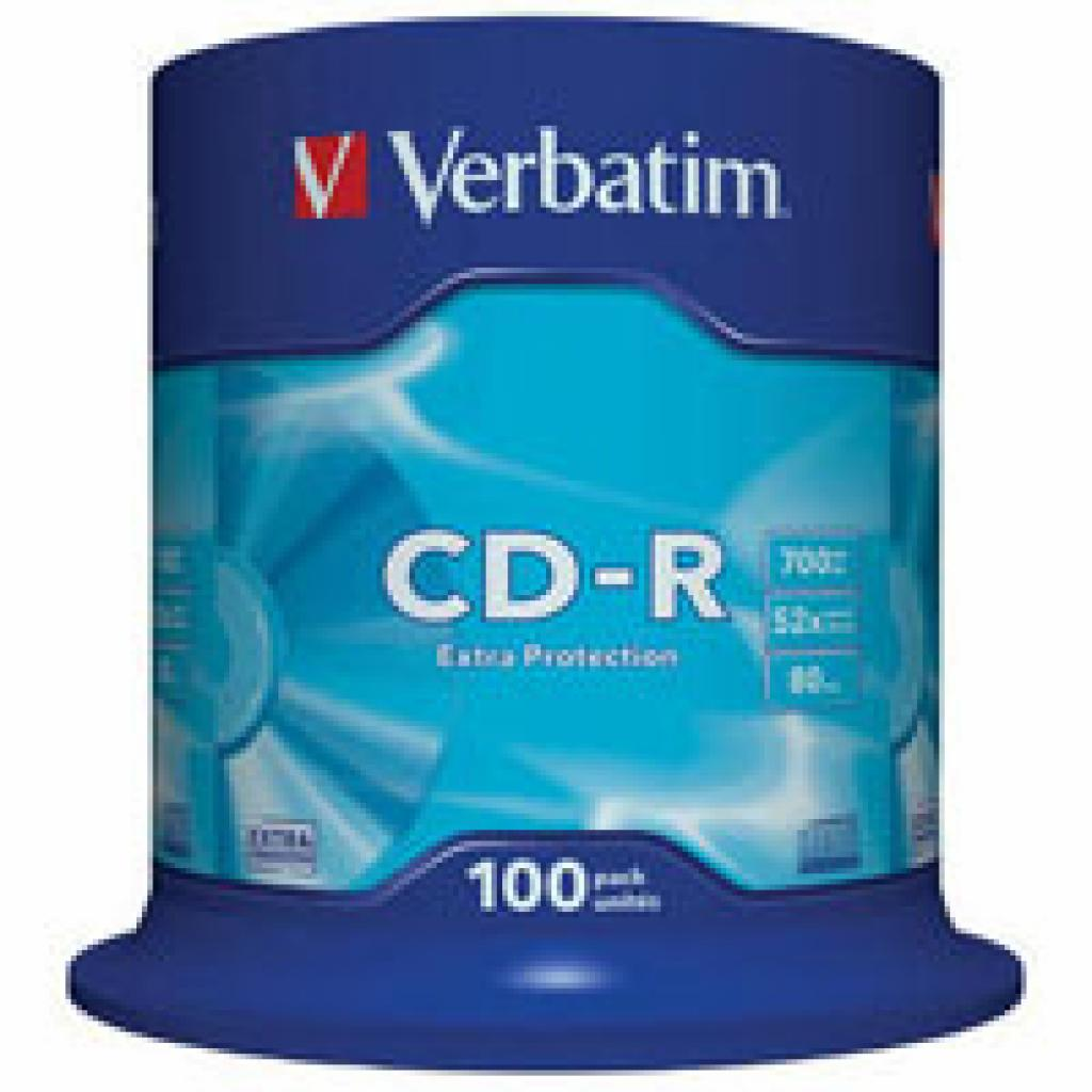 Диск CD Verbatim 700Mb 52x Cake box 100шт Extra (43411)