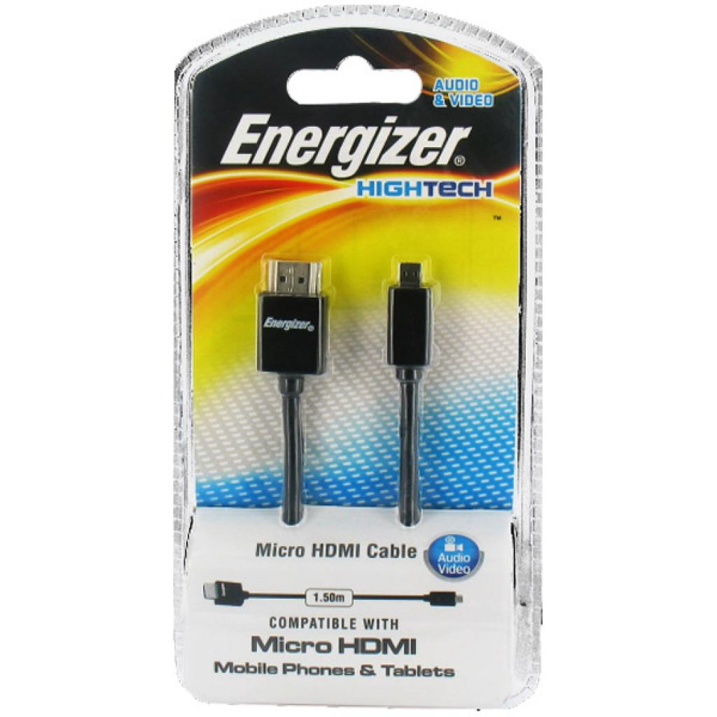 Кабель мультимедийный HDMI A to HDMI D (micro), 1.5m Energizer (LCAEHHAD2)
