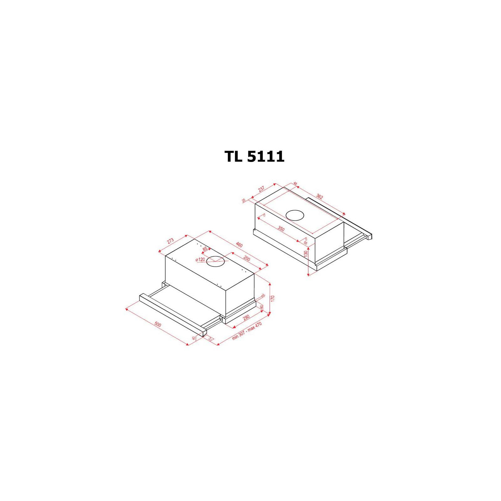 Вытяжка кухонная PERFELLI TL 5111 W изображение 7