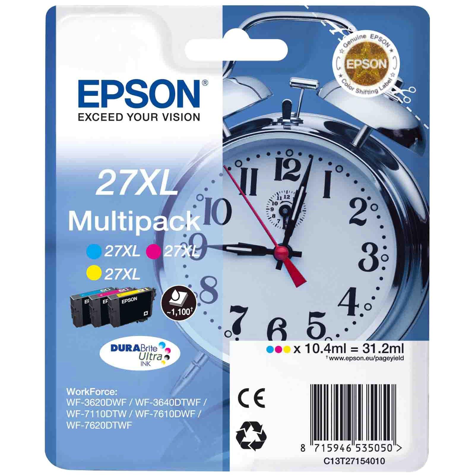Картридж EPSON 27XL WF-7620 Bundle (C,M,Y) XL (C13T27154020/C13T27154022)