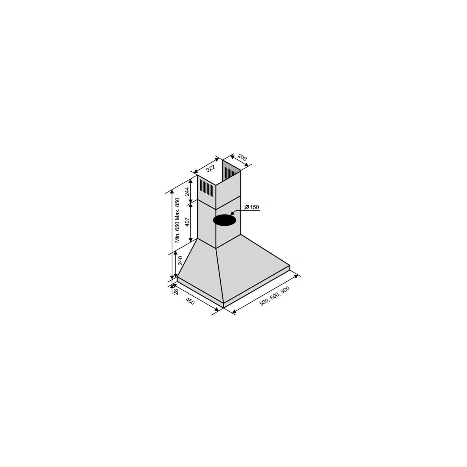 Вытяжка кухонная VENTOLUX MILANO 60 INOX (1000) IT изображение 2