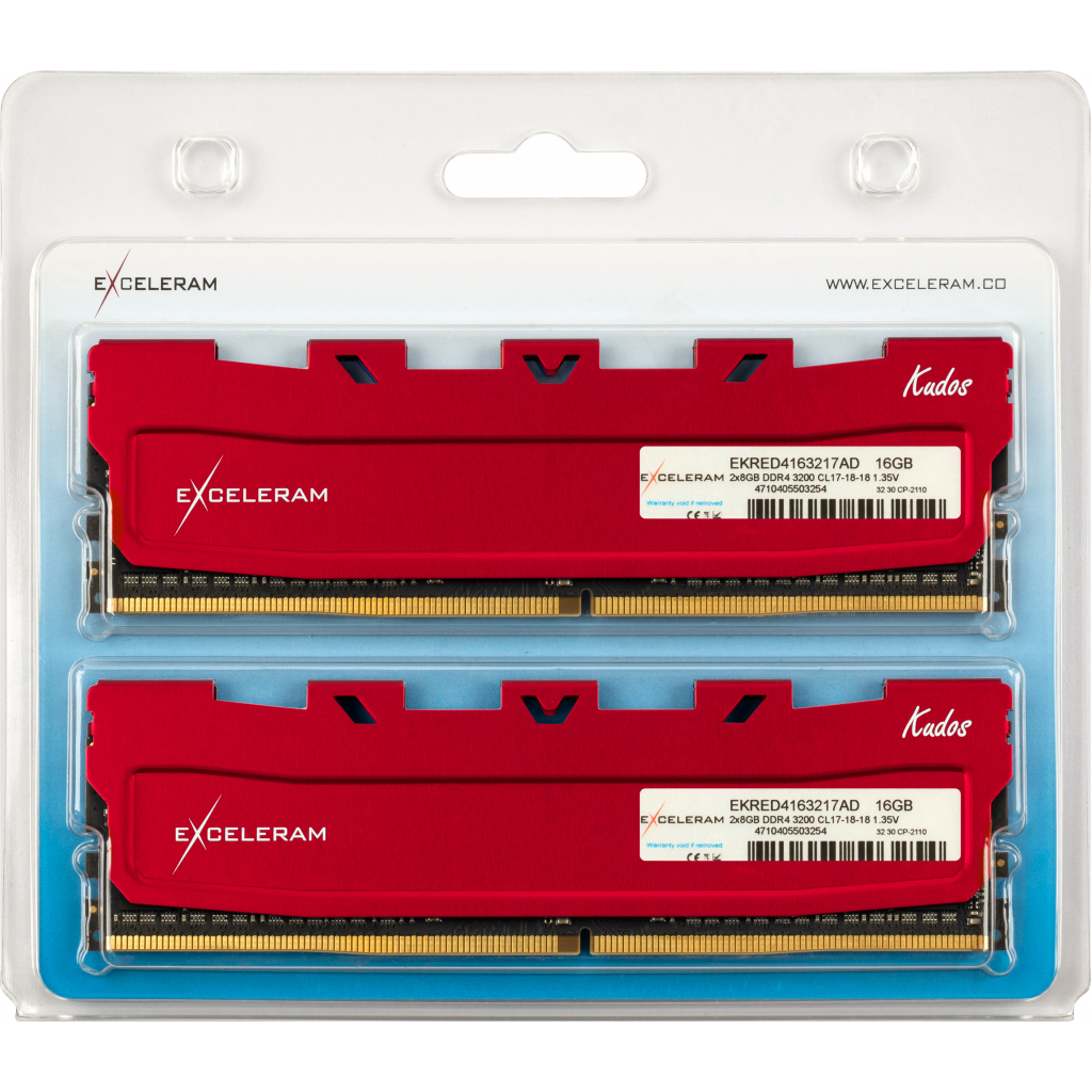 Модуль памяти для компьютера DDR4 16GB (2x8GB) 3200 MHz Kudos Red eXceleram (EKRED4163217AD) изображение 2