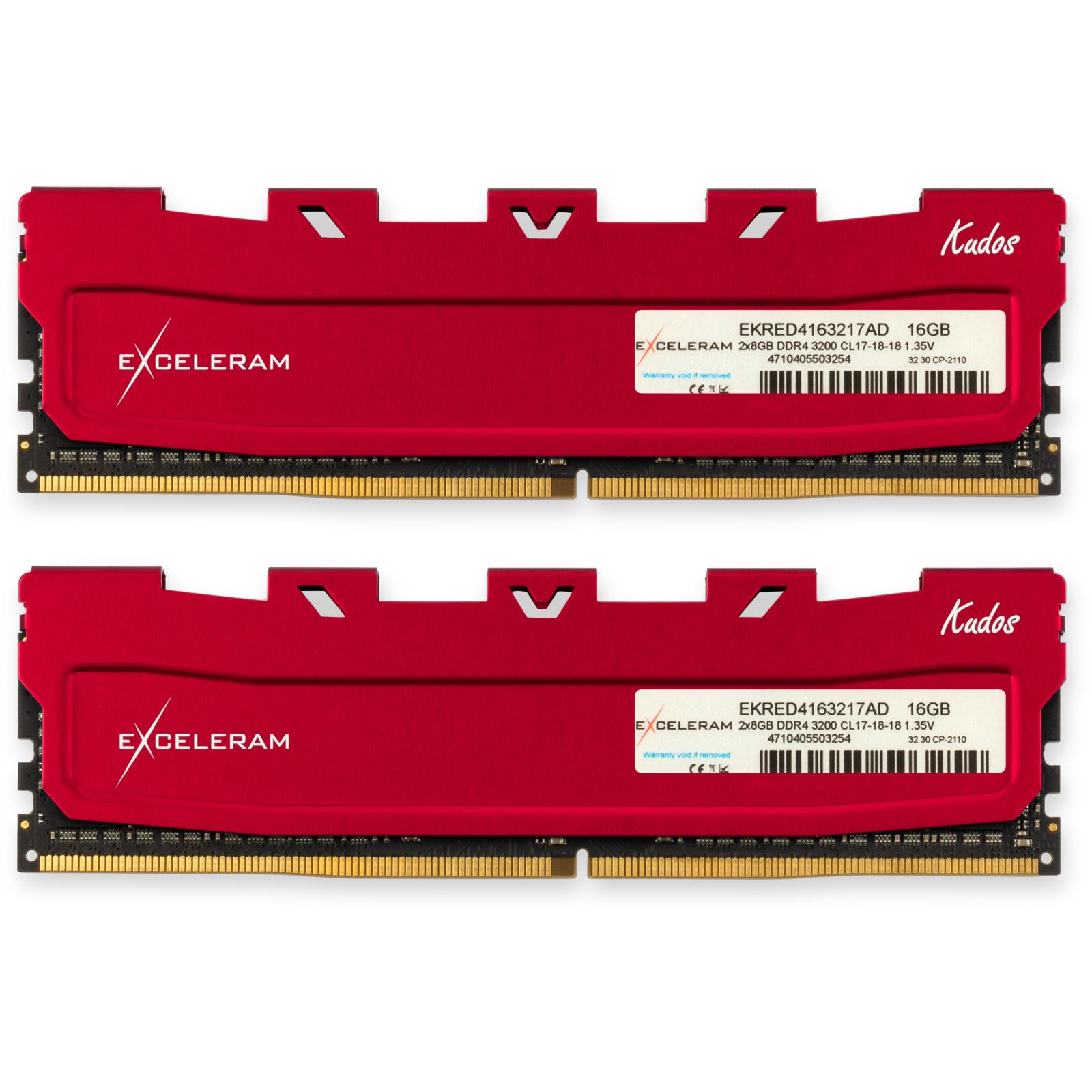Модуль памяти для компьютера DDR4 16GB (2x8GB) 3200 MHz Kudos Red eXceleram (EKRED4163217AD)