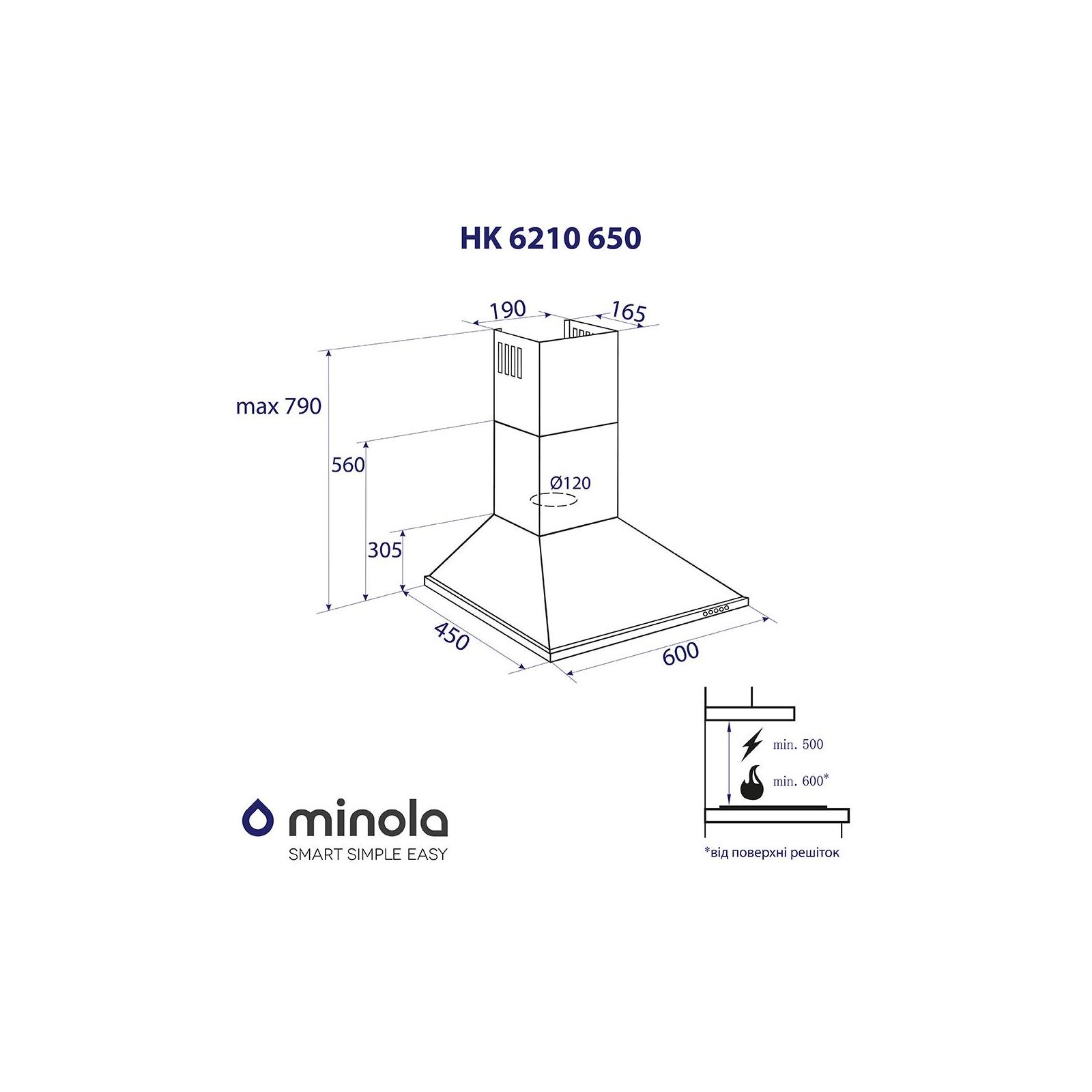 Вытяжка кухонная MINOLA HK 6210 WH 650 изображение 7