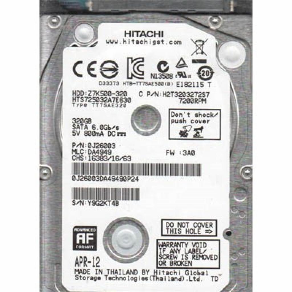 """Жесткий диск для ноутбука 2.5"""" 320GB Hitachi HGST (0J26003 / HTS725032A7E630)"""