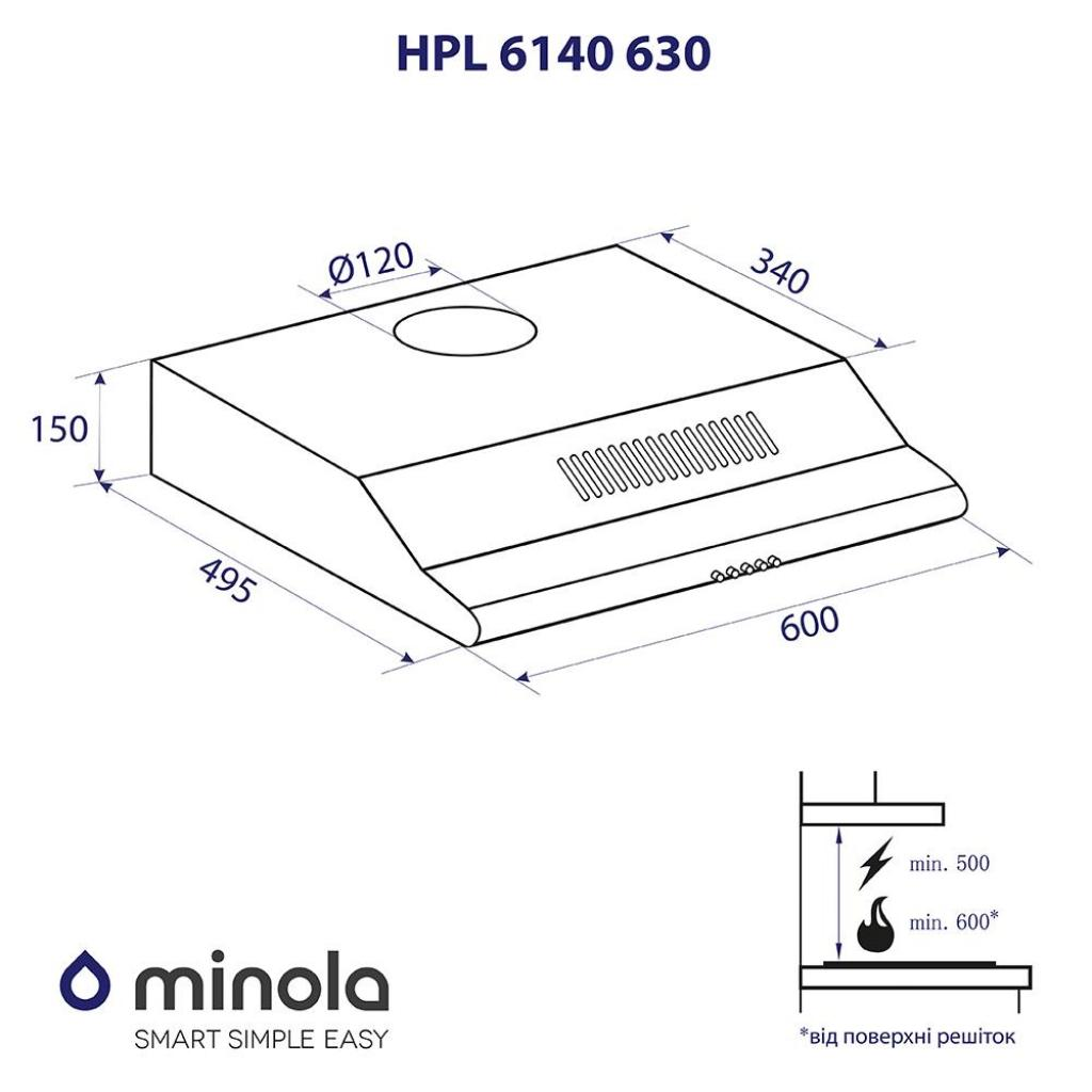 Вытяжка кухонная MINOLA HPL 6140 BL 630 изображение 6