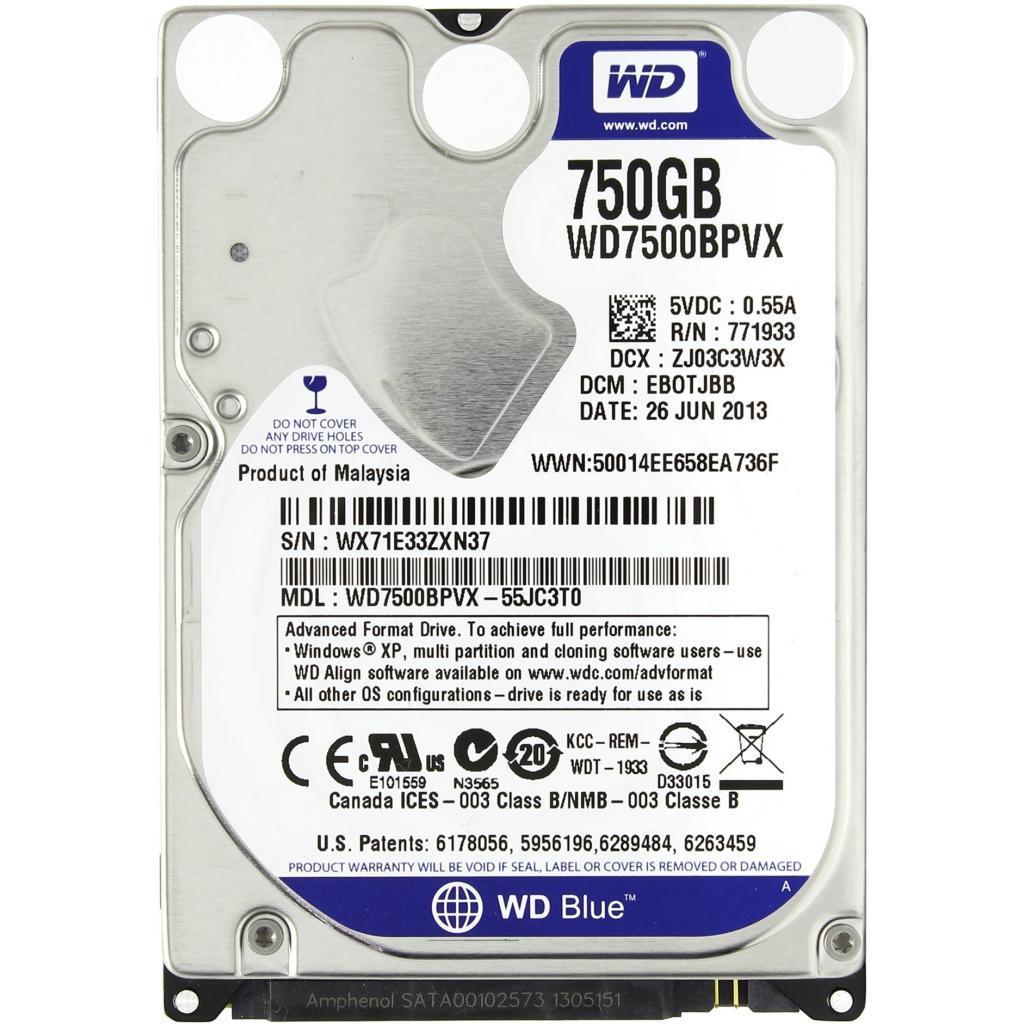 "Жесткий диск для ноутбука 2.5"" 750GB Western Digital (WD7500BPVX)"