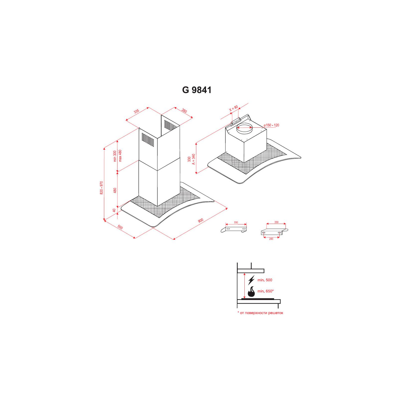 Вытяжка кухонная Perfelli G 9841 I изображение 7