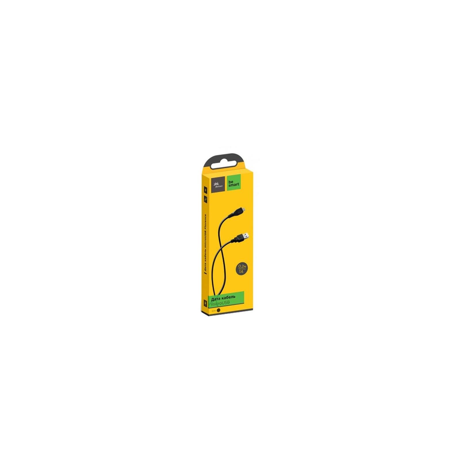 Дата кабель USB 2.0 AM to Micro 5P 0.2m Black Florence (FD-M02-1B)