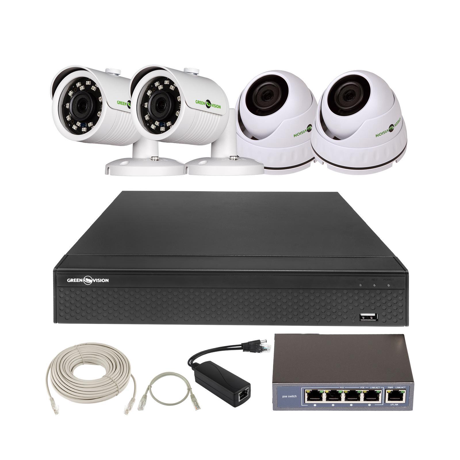 Комплект видеонаблюдения Greenvision GV-IP-K-L27/04 1080P (6924)