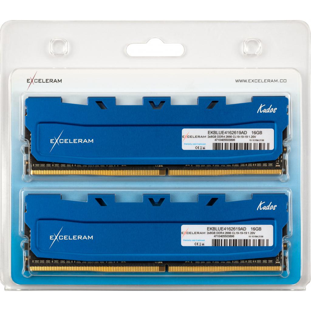 Модуль памяти для компьютера DDR4 16GB (2x8GB) 2666 MHz Kudos Blue eXceleram (EKBLUE4162619AD) изображение 2