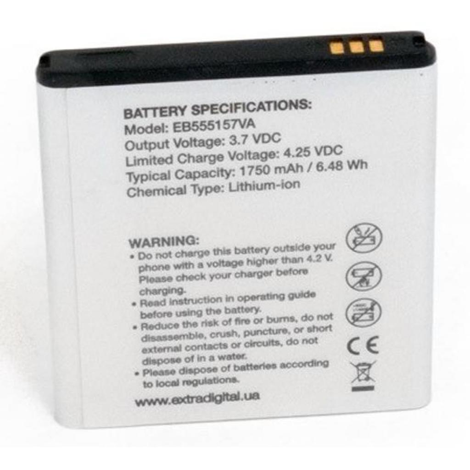 Аккумуляторная батарея EXTRADIGITAL Samsung SGH-i997 Galaxy S Infuse 4G (1750 mAh, EB555157VA) (BMS6331) изображение 2