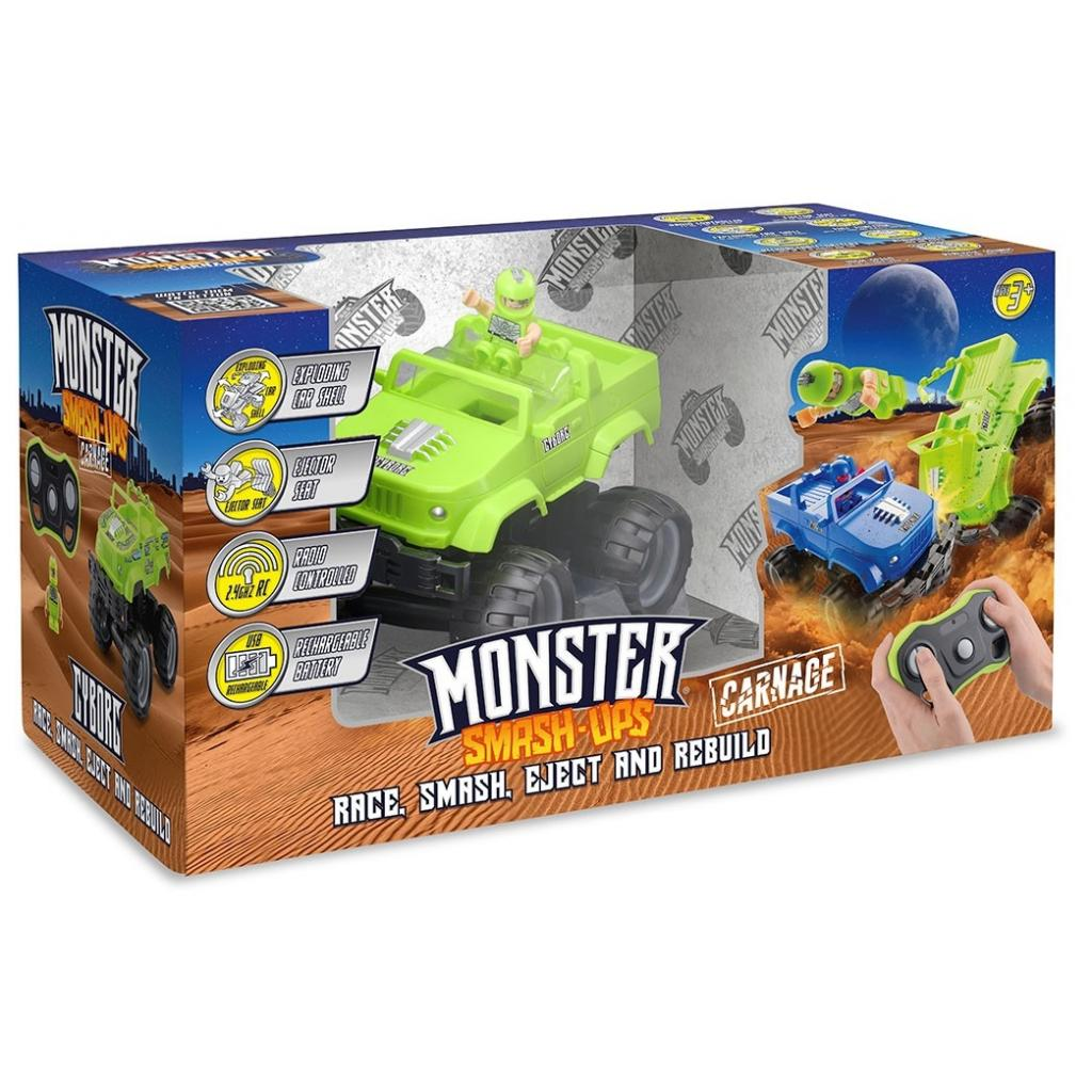 Радиоуправляемая игрушка Monster Smash-Ups Crash Car S2 Киборг Зеленый (TY6082A) изображение 5