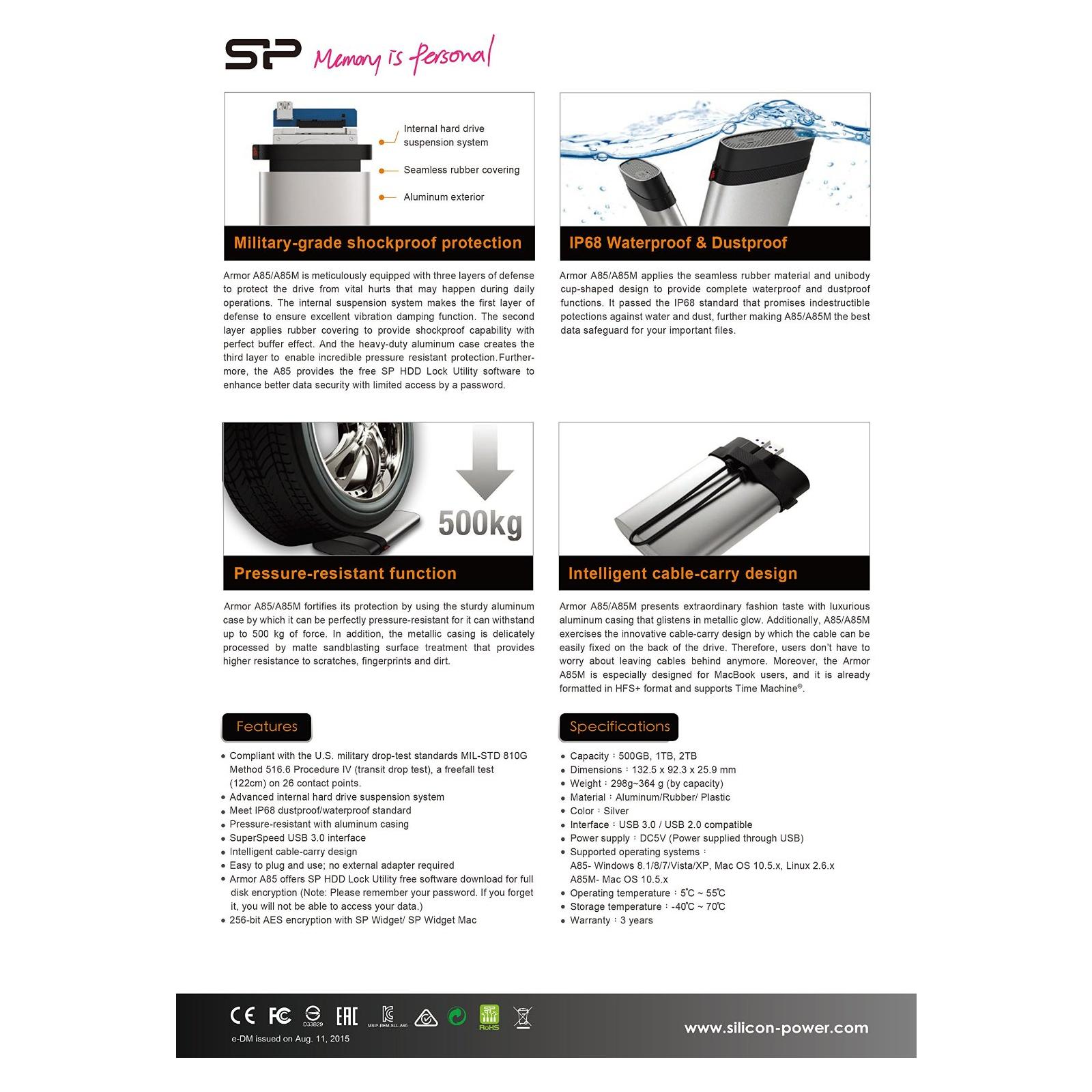 """Внешний жесткий диск 2.5"""" 1TB Silicon Power (SP010TBPHDA85S3S) изображение 6"""