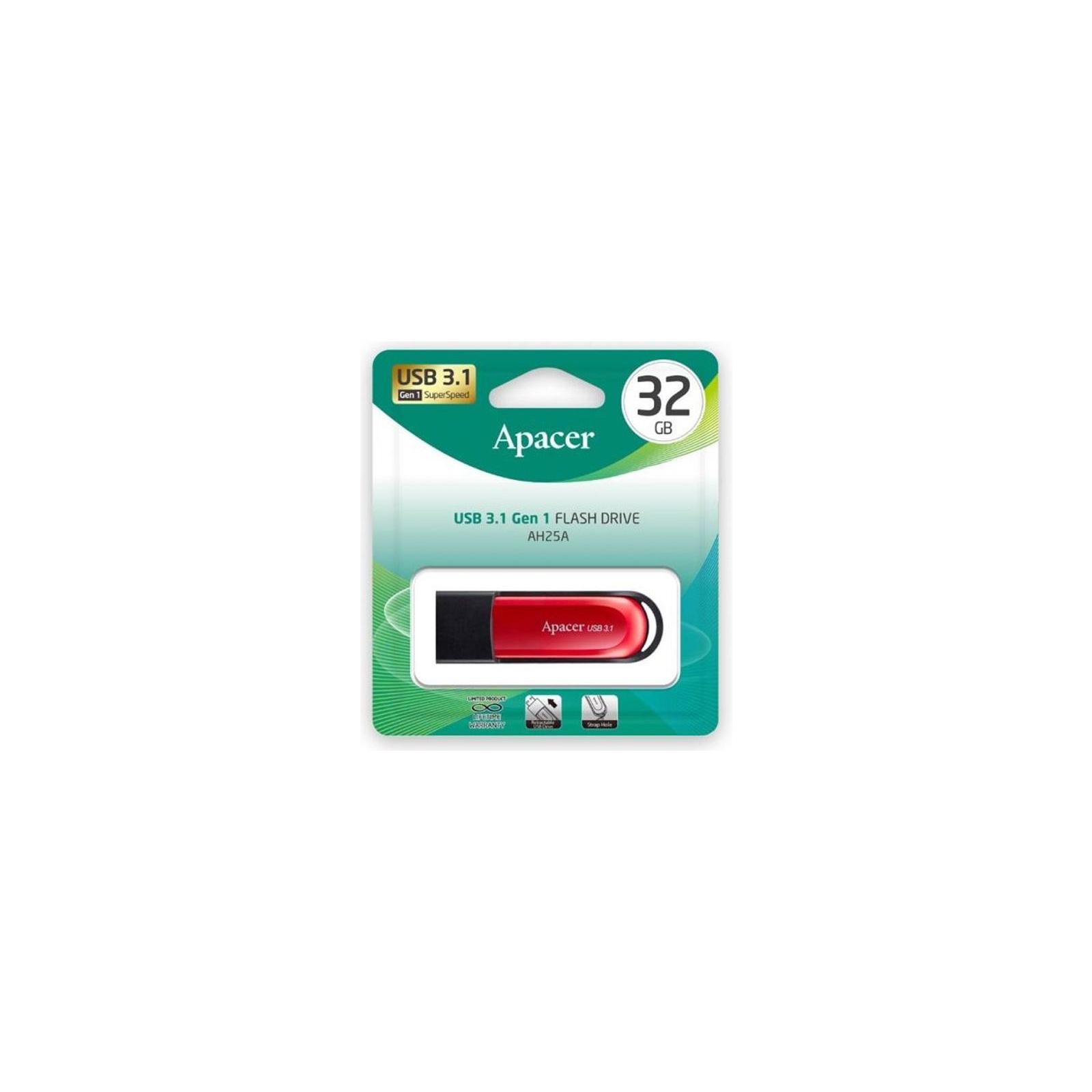 USB флеш накопитель Apacer 32GB AH25A Black USB 3.1 Gen1 (AP32GAH25AB-1) изображение 5