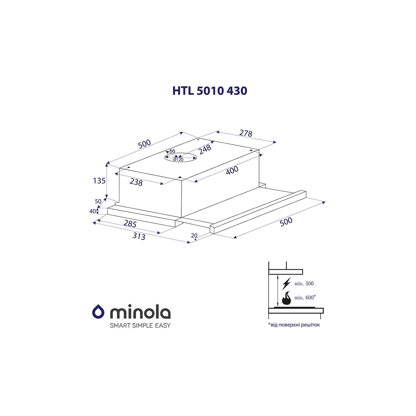 Вытяжка кухонная MINOLA HTL 5010 FULL INOX 430 изображение 7
