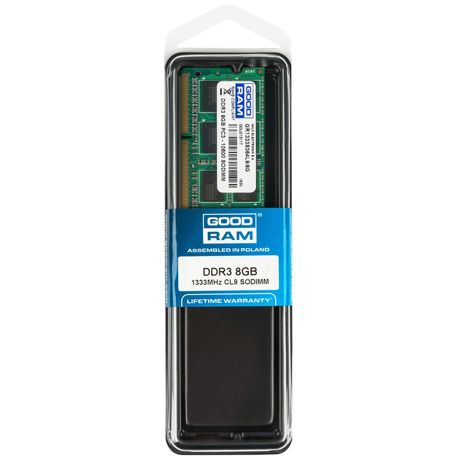 Модуль памяти для ноутбука SoDIMM DDR3 8GB 1333 MHz GOODRAM (GR1333S364L9/8G) изображение 5
