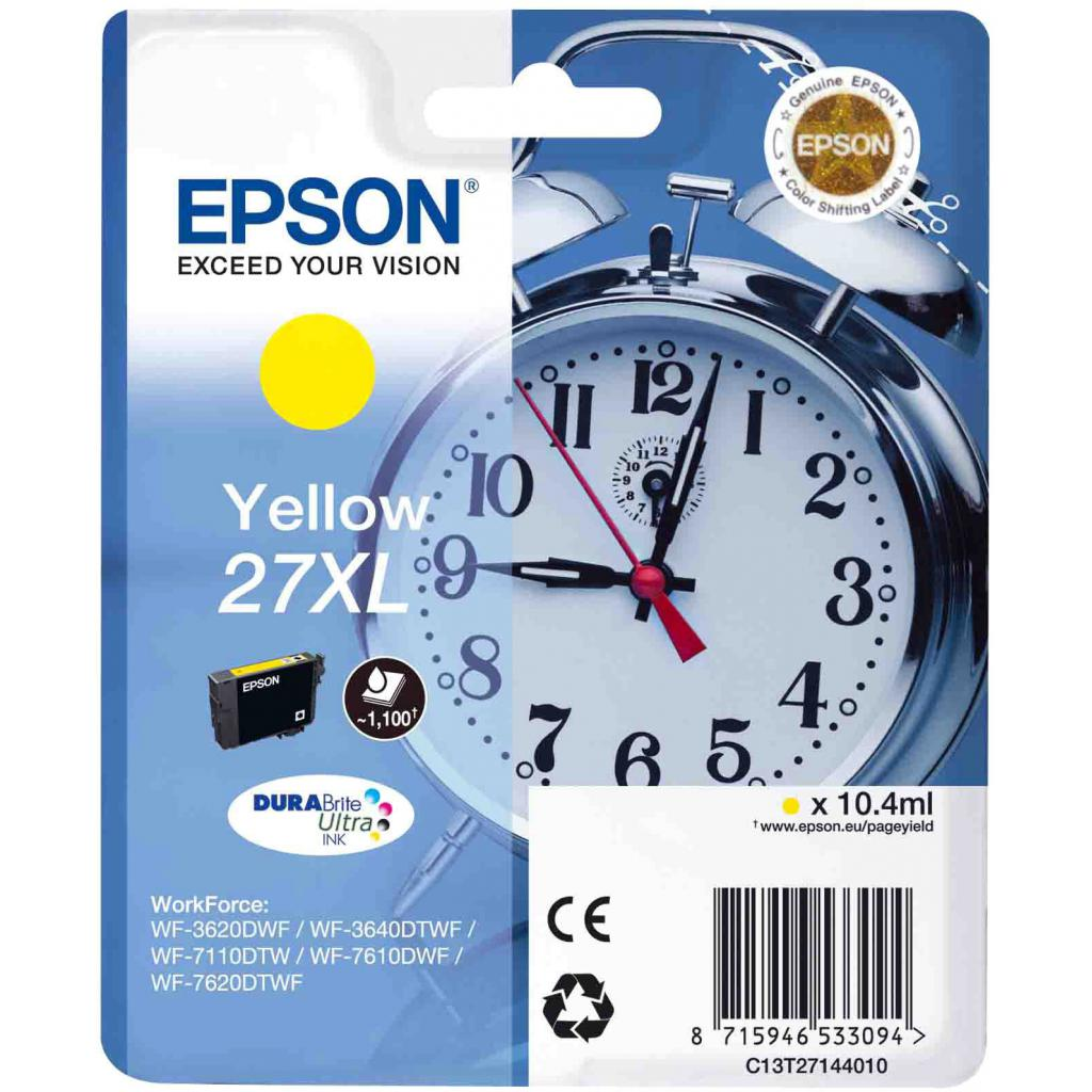 Картридж EPSON 27XL WF-7620 yellow XL (C13T27144020/C13T27144022)