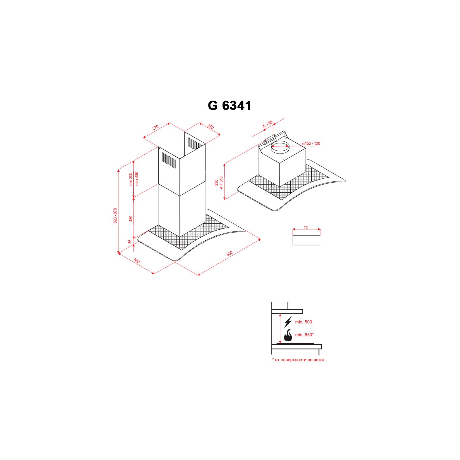 Вытяжка кухонная PERFELLI G 6341 BL изображение 6
