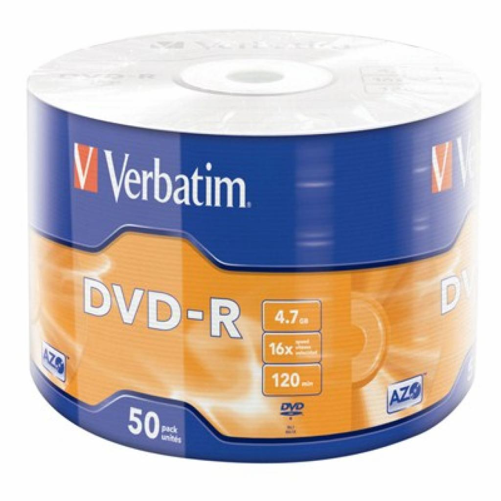 Диск DVD-R Verbatim 4.7Gb 16X Wrap-box 50шт MATT SILVER (43788)