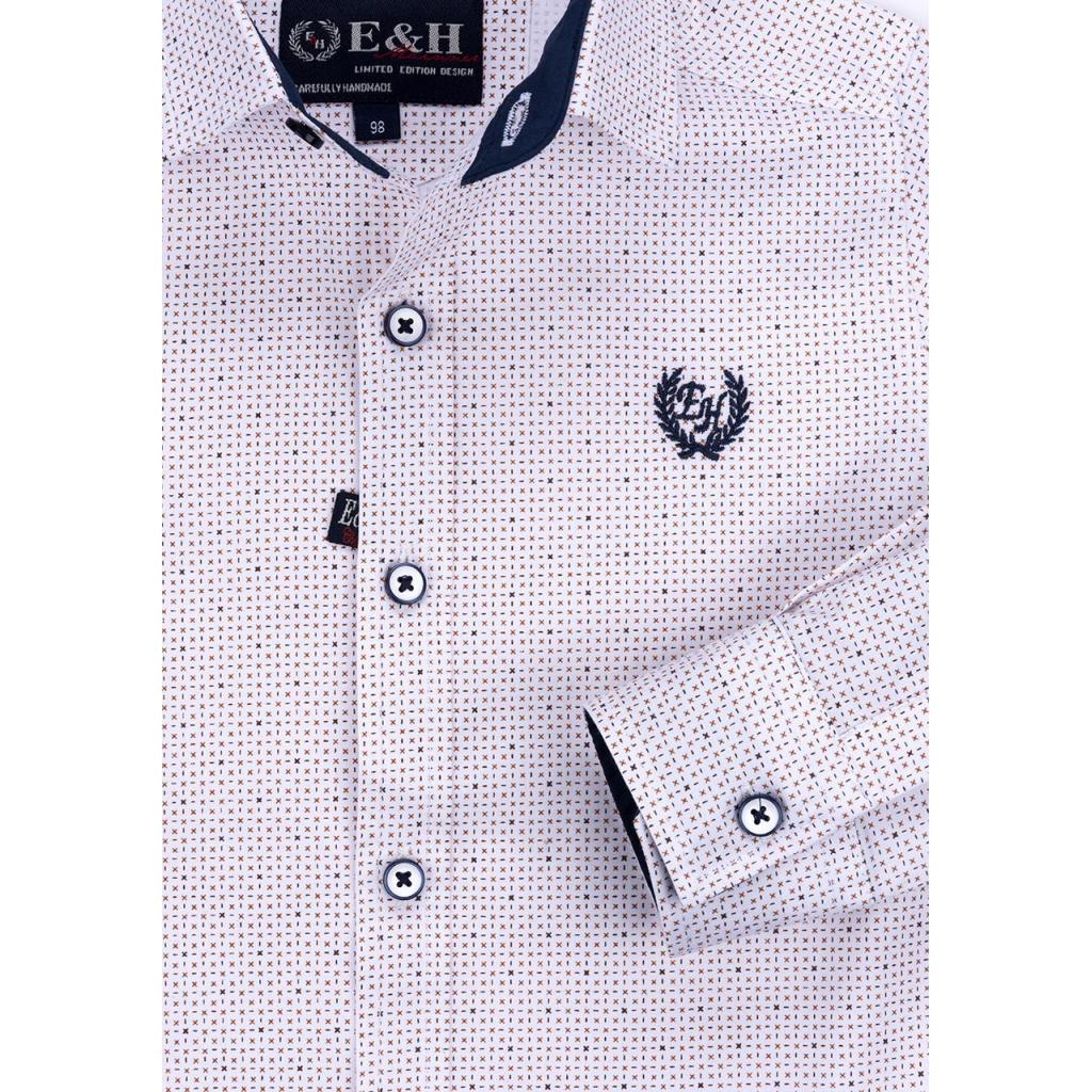 Рубашка E&H с мелким рисунком (G-257-98B-beige) изображение 4