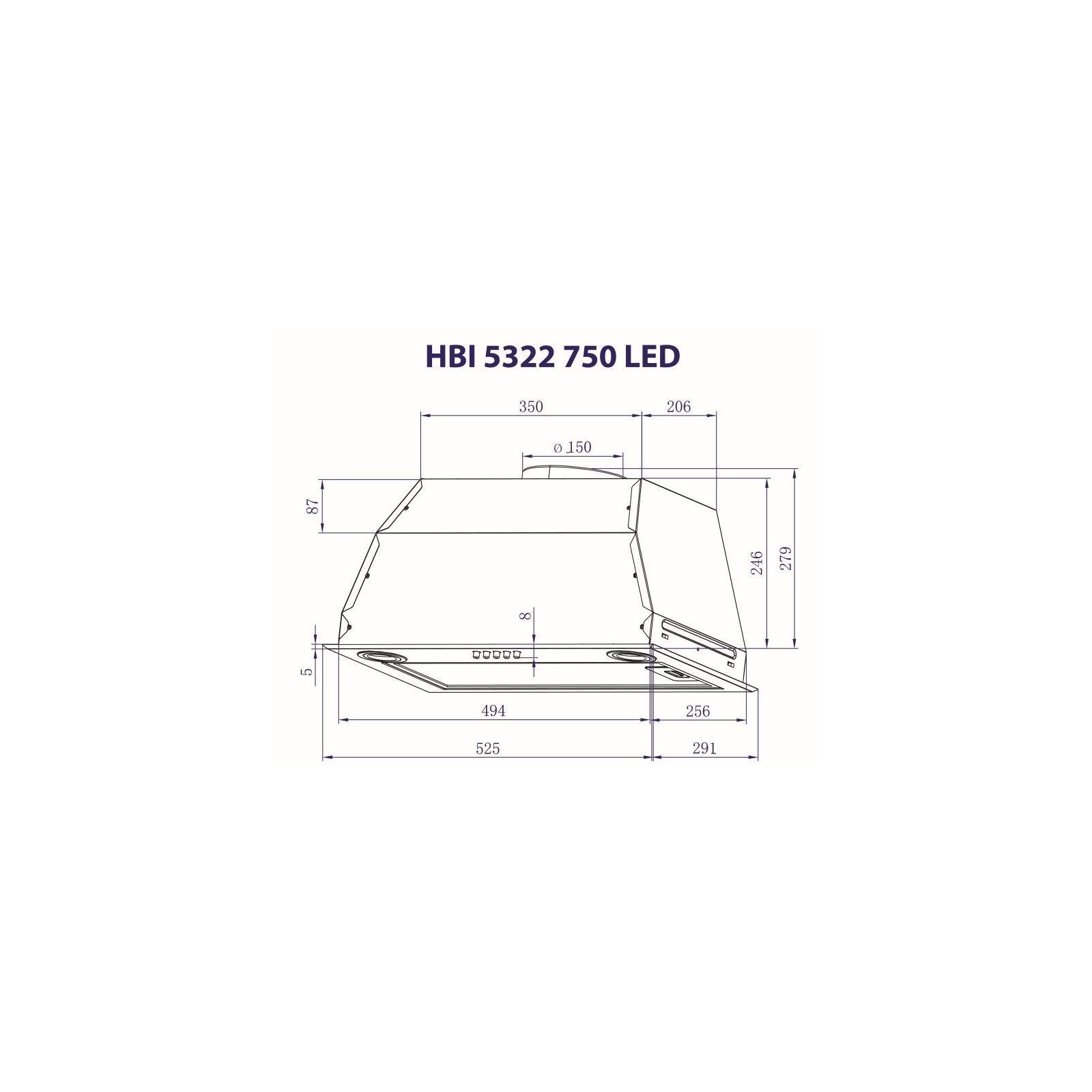 Вытяжка кухонная MINOLA HBI 5322 BL 750 LED изображение 3