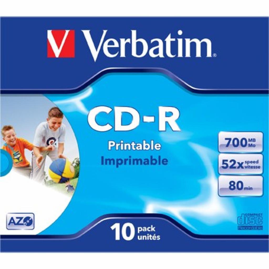Диск CD Verbatim 700Mb 52x Jewel Printable (43325)