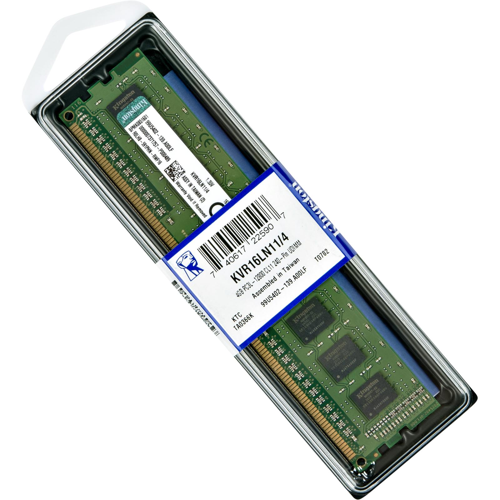 Модуль памяти для компьютера DDR3 4GB 1600 MHz Kingston (KVR16LN11/4) изображение 5